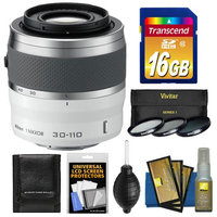 Nikon 1 30-110mm f/3.8-5.6 VR Nikkor Lens (White) with 16GB Card + 3 UV/CPL/ND8 Filters + Cleaning & Accessory Kit
