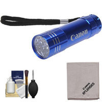Canon 9 LED Push Button Flashlight (Blue) with Canon Cloth & 6pc Cleaning Kit