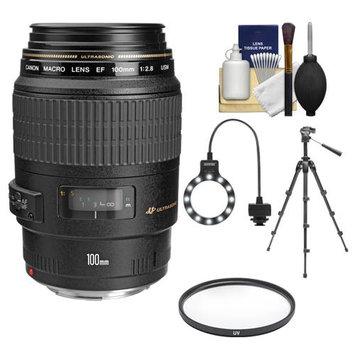 Canon EF 100mm f/2.8 Macro USM Lens with Tripod + UV Filter + Macro Ring Light + Accessory Kit