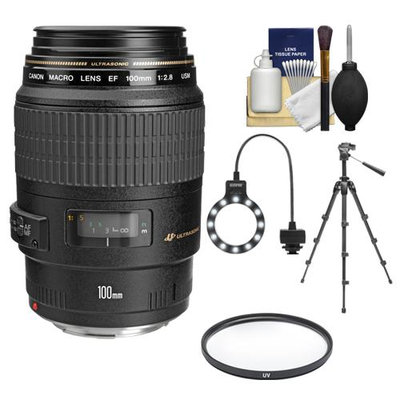 Canon EF 100mm f/2.8 Macro USM Lens with Tripod + UV Filter + Macro Ring Light + Accessory Kit