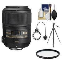 Nikon 85mm f/3.5 G VR AF-S DX ED Micro-Nikkor Lens with Tripod + UV Filter + Macro Ring Light + Accessory Kit
