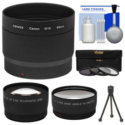 Bower LA-DC58L Conversion Adapter Tube for Canon PowerShot G15 Digital Camera (58mm) with Tripod + Wide Angle & Telephoto Lenses + 3 (UV/FLD/CPL) Filters + Cleaning Kit