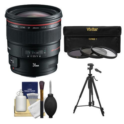 Canon EF 24mm f/1.4L II USM Lens with 3 (UV/ND8/CPL) Filters + Tripod + Cleaning Kit