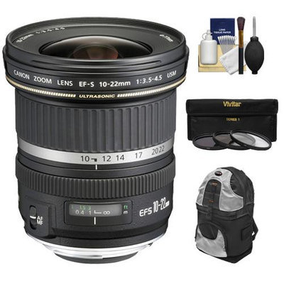 Canon EF-S 10-22mm f/3.5-4.5 USM Ultra Wide Angle Zoom Lens with Backpack + 3 UV/ND8/CPL Filters + Cleaning Kit