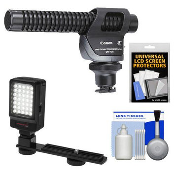 Canon DM-100 Directional Stereo Microphone with LED Light & Bracket + Cleaning Kit