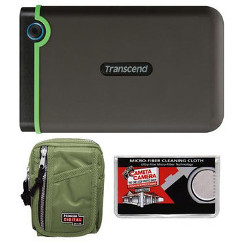 Transcend 1TB USB 3.0 StoreJet 25M3 Portable Hard Drive with Case + Cleaning Cloth
