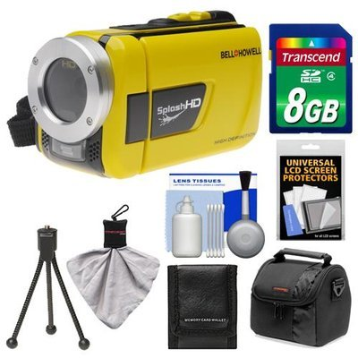 Bell & Howell Splash HD WV30 Waterproof Digital Video Camera Camcorder (Yellow) with 8GB Card + Case + Flex Tripod + Accessory Kit