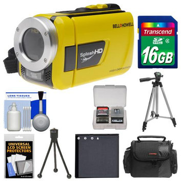 Bell & Howell Splash HD WV30 Waterproof Digital Video Camera Camcorder (Yellow) with 16GB Card + Case + Battery + 2 Tripods + Accessory Kit