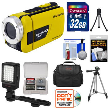 Bell & Howell Splash HD WV30 Waterproof Digital Video Camera Camcorder (Yellow) with 32GB Card + Case + LED Light & Bracket + 2 Tripods + Accessory Kit