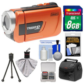 Coleman CVW16HD TrekHD Waterproof HD Digital Video Camera Camcorder (Orange) with 8GB Card + Case + Flex Tripod + Accessory Kit
