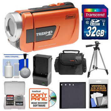 Coleman CVW16HD TrekHD Waterproof HD Digital Video Camera Camcorder (Orange) with 32GB Card + Case + Battery & Charger + Tripod + Accessory Kit