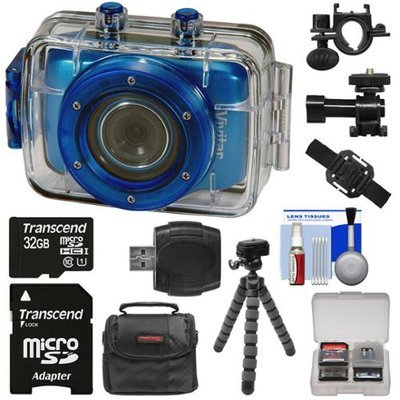 Vivitar DVR785HD Waterproof Action Video Camera Camcorder (Blue) with Helmet & Bike Mounts with 32GB Card + Case + Flex Tripod + Kit
