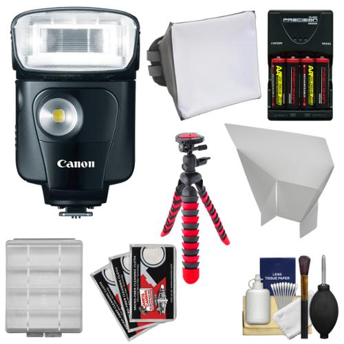 Canon Speedlite 320EX Flash with LED Light with Softbox + Bounce Reflector + Batteries & Charger + Flex Tripod + Accessory Kit