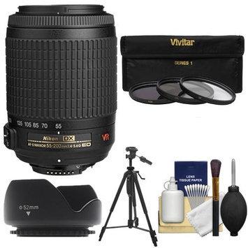 Nikon 55-200mm f/4-5.6G VR DX AF-S ED Zoom-Nikkor Lens - Factory Refurbished with 3 UV/FLD/CPL Filters + Hood + Tripod + Cleaning Kit