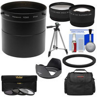 Bower AFZP200 Conversion Adapter Tube for Panasonic Lumix DMC-FZ200 Camera (67mm) with 2.5x Tele & .45x Wide Angle Lenses + Hood + 3 Filters + Case + Tripod Kit