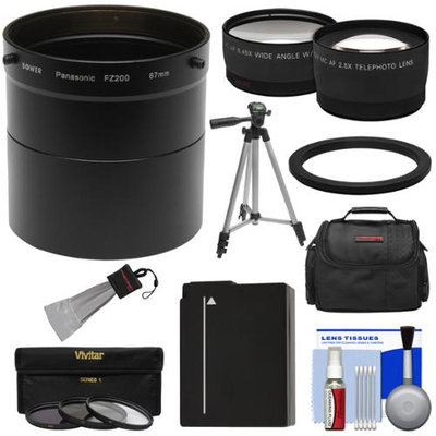Bower AFZP200 Conversion Adapter Tube for Panasonic Lumix DMC-FZ200 Camera (67mm) with 2.5x Tele & .45x Wide Lenses + 3 Filters + DMW-BLC12 Battery + Case + Tripod Kit