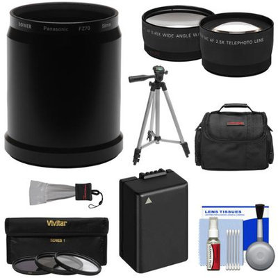Bower AFZ70P58 Conversion Adapter Tube for Panasonic Lumix DMC-FZ70 Camera (58mm) with 2.5x Tele & .45x Wide Lenses + 3 Filters + DMW-BMB9 Battery + Case + Tripod Kit