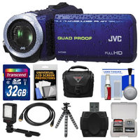 JVC Everio GZ-R10 Quad Proof Full HD Digital Video Camera Camcorder (Blue) with 32GB Card + Case + LED Light + Flex Tripod + Kit