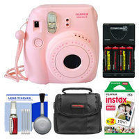 Fujifilm Instax Mini 8 Instant Camera Pink + 20 Film + Case + (4) Batt + Kit