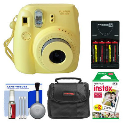 Fujifilm Instax Mini 8 Instant Film Camera (Yellow) with Instant Film + Case + Batteries & Charger + Kit