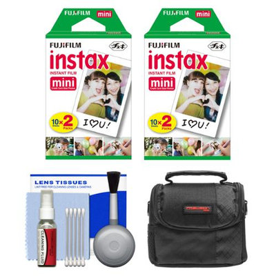 Essentials Bundle for Fujifilm Instax Mini 8 & Mini 90 Instant Film Camera with 40 Twin Color Prints + Case + Cleaning Kit