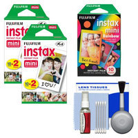 Essentials Bundle for Fujifilm Instax Mini 8 & Mini 90 Instant Film Camera with 20 Twin & 10 Rainbow Prints + Cleaning Kit