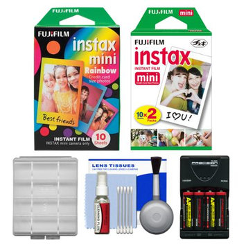 Essentials Bundle for Fujifilm Instax Mini 8 Instant Film Camera with 20 Twin & 10 Rainbow Prints + Batteries & Charger + Kit