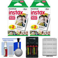 Essentials Bundle for Fujifilm Instax Mini 8 Instant Film Camera with 40 Twin Color Prints + Batteries & Charger + Kit