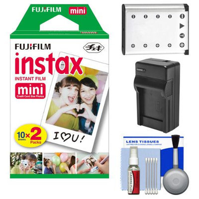 Essentials Bundle for Fujifilm Instax Mini 90 Instant Film Camera with 20 Twin Color Prints + Battery & Charger + Cleaning Kit