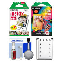 Essentials Bundle for Fujifilm Instax Mini 90 Instant Film Camera with 20 Twin Prints & 10 Rainbow Prints + Battery + Cleaning Kit