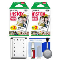 Essentials Bundle for Fujifilm Instax Mini 90 Instant Film Camera with 40 Twin Color Prints + Battery + Cleaning Kit