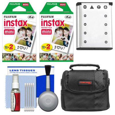 Essentials Bundle for Fujifilm Instax Mini 90 Instant Film Camera with 40 Twin Color Prints + Battery + Case + Cleaning Kit