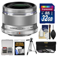 Olympus M.Zuiko 25mm f/1.8 Digital Lens (Silver) with 32GB Card + Tripod + 3 UV/ND8/PL Filters + Accessory Kit
