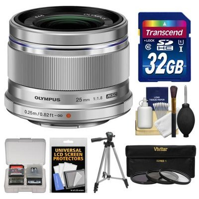 Olympus M.Zuiko 25mm f/1.8 Digital Lens (Silver) with 32GB Card + Tripod + 3 UV/ND8/PL Filters + Accessory Kit