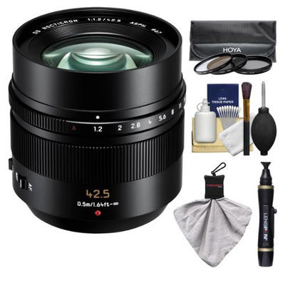 Panasonic Lumix G Leica 42.5mm f/1.2 DG Nocticron ASPH. Lens for G Series Cameras (Black) with 3 UV/CPL/ND8 Filters + Accessory Kit