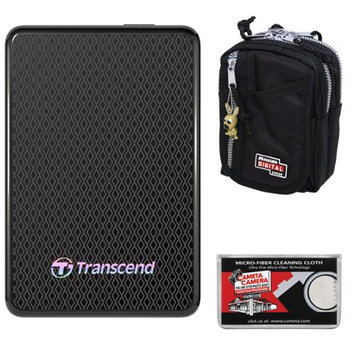 Transcend 256GB USB 3.0 ESD400 Portable Solid State Hard Drive + Case + Cloth