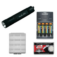 Fenix E01 LED Waterproof Mini Torch Flashlight (Black) with 4 AAA Rechargeable Batteries & Charger + Case + Cleaning Cloth
