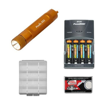 Fenix E01 LED Waterproof Mini Torch Flashlight (Gold) with 4 AAA Rechargeable Batteries & Charger + Case + Cleaning Cloth