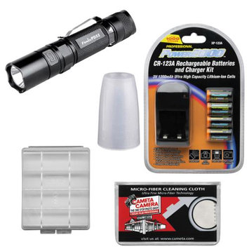 Fenix PD32 LED Waterproof Torch Flashlight (Black) with Diffuser Tip + 4 Recharageable Batteries & Charger + Cloth