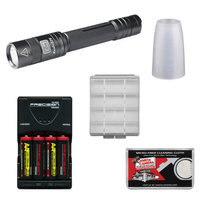 Fenix E25 LED Waterproof Torch Flashlight (Black) with 4 Rechargeable Batteries & Charger + Case + Diffuser Tip + Cloth