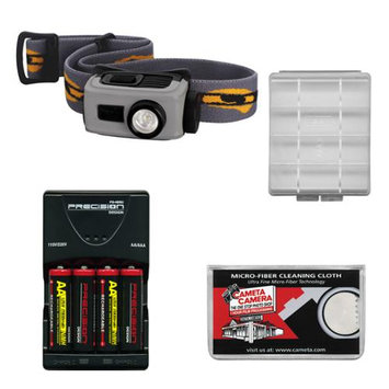 Fenix HL22 120 Lumens LED Waterproof Headlamp Torch Flashlight (Grey) with 4 AA Rechargeable Batteries & Charger + Case + Cloth