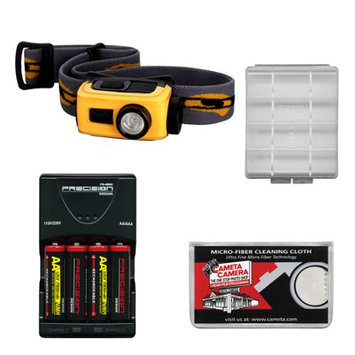 Fenix HL22 120 Lumens LED Waterproof Headlamp Torch Flashlight (Orange) with 4 AA Rechargeable Batteries & Charger + Case + Cloth