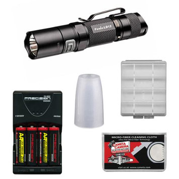 Fenix LD12 G2 High Performance Waterproof LED Flashlight with Diffuser Tip + 4 AA Recharageable Batteries & Charger + Cloth