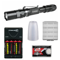 Fenix LD22 G2 High Performance Waterproof LED Flashlight with Diffuser Tip + 4 AA Recharageable Batteries & Charger + Cloth