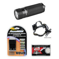 Fenix E15 LED Waterproof Torch Flashlight + Headband + 4 Batt + Charger