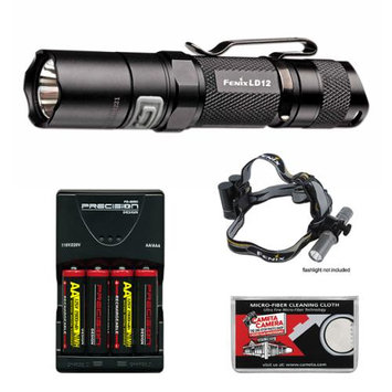 Fenix LD12 G2 High Performance Waterproof LED Flashlight with Headband + 4 AA Recharageable Batteries & Charger + Cloth