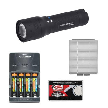 LED Lenser P7QC Rechargeable Flashlight with Case with 4 AAA Rechargeable Batteries + Rapid Charger + Battery Case & Cleaning Cloth