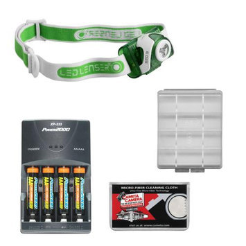 LED Lenser SEO3 90 Lumens Lightweight Headlamp (Green) with 4 AAA Rechargeable Batteries + Rapid Charger + Battery Case & Cleaning Cloth