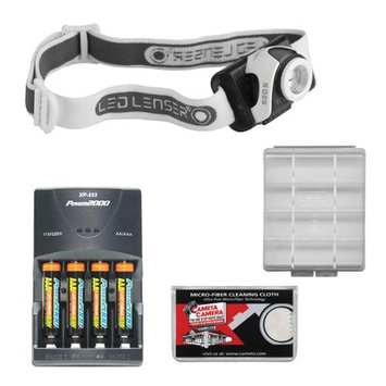 LED Lenser SEO5 180 Lumens Lightweight Headlamp (Grey) with 4 AAA Rechargeable Batteries + Rapid Charger + Battery Case & Cleaning Cloth