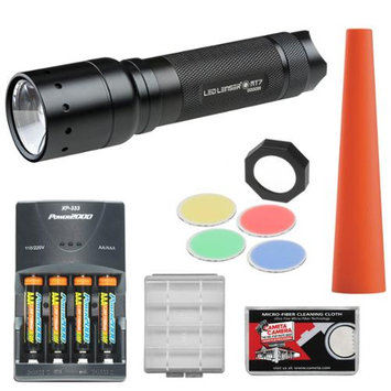 LED Lenser MT7 LED Flashlight with Smart Light Technology & Intelligent Clip (220 Lumens) with Signal Cone + Filters + 4 AAA Rechargeable Batteries + Charger + Battery Case & Cloth
